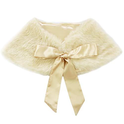 inlzdz Chal de piel sintética para niñas, chal de princesa tippet bolero hombros hombros para boda, fiesta, vestido de niña con flores
