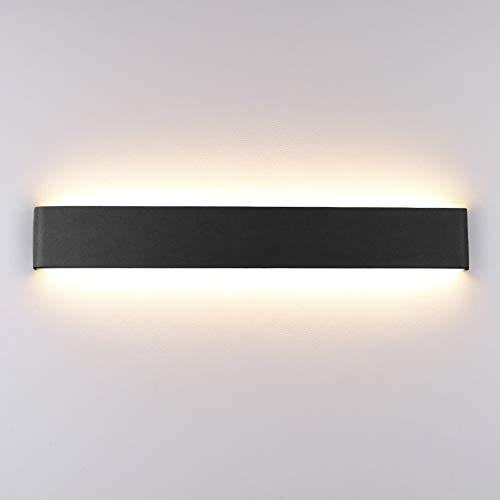 Klighten Wandleuchte Innen LED 60CM Warmweiß 20W Modern Up Down Wandbeleuchtung Wandlicht für Schlafzimmer Wohnzimmer Flur Treppen,Schwarz
