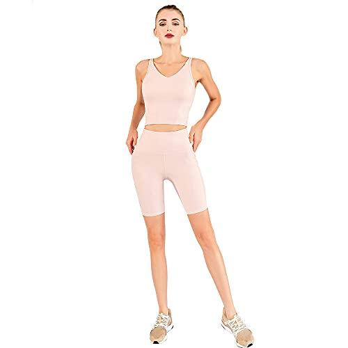 qqff Mujer Chándal Conjunto,Ropa Yoga,Traje Dos Piezas Yoga Fitness Deportivo Secado rápido-Pink,Conjuntos chándales Mujeres