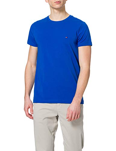 Tommy Hilfiger TH Stretch Slim Fit tee Camiseta, Azul Bio, S para Hombre