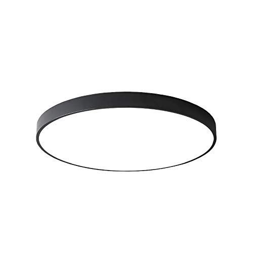 PUCHIKA LED Deckenleuchte 24W Ultra Dünn Deckenlampe Bürolampe Rund Wohnzimmer Kinderzimmer Deckenlampen,schwarze,30cm