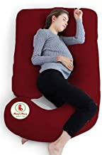 Mom's Moon Upgrade Model U Shape Pregnancy Pillow/Pregnant Women Pillow/Full Body Relax Pillow/Maternity Pillow with 100% Cotton Zippered Cover, Standard (Maroon)