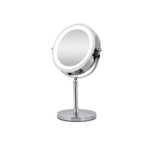 SSBH Espejo de vanidad 10 Veces Espejo de Maquillaje de Lupa con led Ligero Espejos cosméticos con Forma Redonda Espejo de vanidad de Escritorio Espejo retroiluminado Doble Lateral compensación