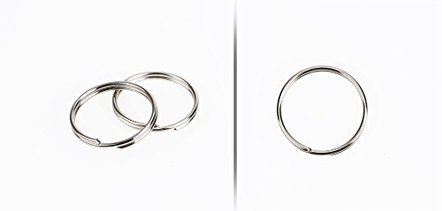 50 anillos en espiral para llaveros y colgantes de piezas metálicas, color dorado antiguo, diámetro de 25 mm, color dorado