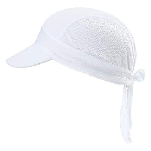 Arcweg Bandana Cap Kopftuch Mit Schirm Atmungsaktiv Pirat Kappe UV Schutz Verstellbar Bikertuch Radsport Mützen Schnelltrockned Weiß