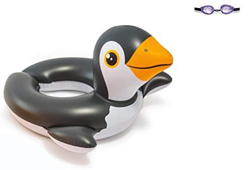 Bavaria-Home-Style-Collection- Aufblasbarer Schwimmring Motiv Auswahl Flamingo Frosch Ente Pinguin Zebra Wasserspielzeug Luftmatratze mit Tierkopf Wasserspielring Kinder ab 3 Jahre (Pinguin)