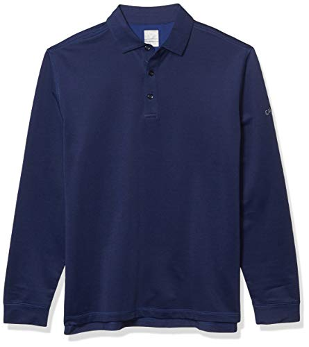 Callaway Men's Long Sleeve French Terry Heathered Solid Polo, Blueprint XXL