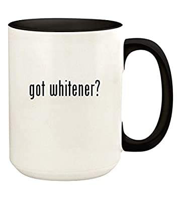 got whitener? - 15oz Ceramic Colored Handle and Inside Coffee Mug Cup, Black