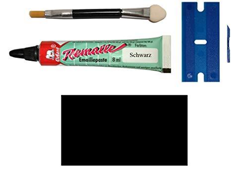Schwarzes Emaille Paste/Lack Reparaturset für Bad, Fliesen, Keramik, Autolack, Holz, Laminat uvm. im praktischen Set mit 8 ml Elefant Emaille, Kunststoffspachtel & Pinsel von MY-B-Style