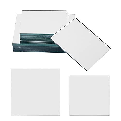 PandaHall 20 piezas de forma cuadrada de espejo de vidrio azulejos pequeños espejos para plegables compactos espejos cubiertos, decoración del hogar y manualidades de bricolaje