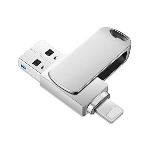 Memoria Flash Drive para iPhone, 2 en 1 OTG USB 3.0, memoria USB 3.0, almacenamiento externo para iPad/PC/Mac (32 GB, plateado)