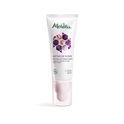 Melvita - Soin de Nuit Hydratation Intense Certifié Bio Nectar de Roses - Crème Hydratante Longue Durée Naturelle à 99% - Hydrate et Ressource la Peau pendant la Nuit - Formule vegan - Tube 40ml
