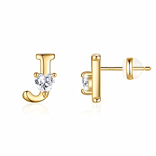 Gold Initial Stud Earrings for Girls, 14K Gold Plated Initial Earrings S925 Sterling Silver Post Grils Earrings Gold Letter J Initial Earrings for Women Toddler Girls Kids Initial Stud