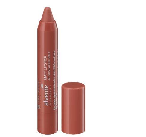 alverde NATURKOSMETIK Lippenstift Mat Lipstick Rosewood Smile 60, 1 x 3,7 ml
