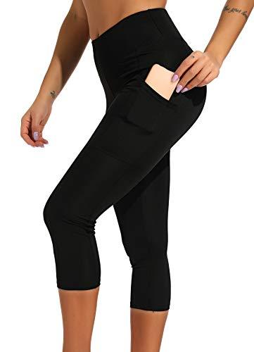 INSTINNCT Damen Doppeltaschen Sport Leggings 3/4 Yogahose Sporthose Laufhose Training Tights mit Handytasche Capris(Gerafftes Design) - Schwarz M