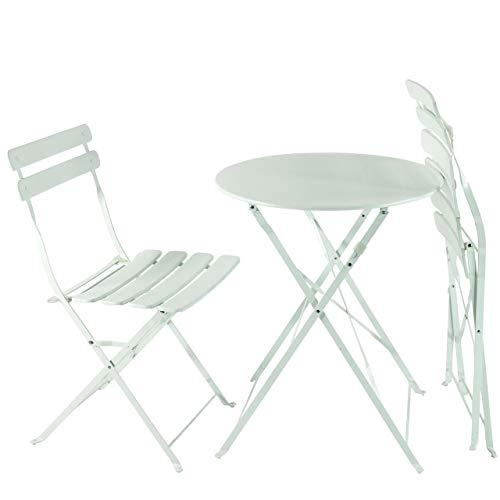 AFP Bistroset 3-teilig weiß - Metallmöbel-Set Tisch rund + 2 Stühle klappbar, Balkonset, kleine Gartenmöbel Garnitur Balkonmöbel stabile Ausführung, farbig