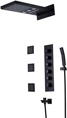 Grifo para fregadero de baño, en la pared, con válvula de control termostático preintegrada, con pulverizador para la parte superior de la ducha, color negro