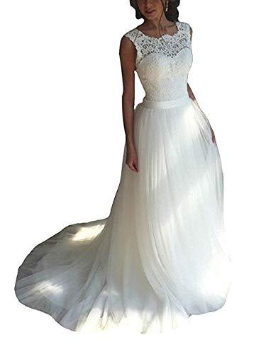 Brautkleid Lang Hochzeitskleider Damen Brautmode Spitze Tüll A Linie Rückenfrei Elfenbein EUR40