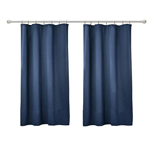 WOLTU VH5870dbl-2, 2er Set Gardinen Vorhang Blickdicht mit kräuselband für schiene, Leichte & weiche Verdunklungsvorhänge für Wohnzimmer Kinderzimmer Kurz 135x175 cm Dunkelblau