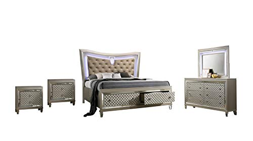 Best Quality Furniture VENETIAN 5PC (Queen Bed, Dresser, Mirror and 2 Nightstands), Champagne -  VEN-Q4N