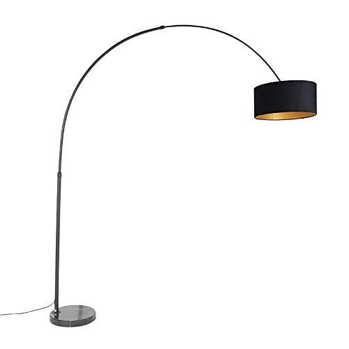 QAZQA Modern Bogenlampe schwarz Veloursschirm schwarz mit Gold/Messing 50 cm - XXL/Innenbeleuchtung/Wohnzimmerlampe/Schlafzimmer Stahl/Marmor/Textil Länglich/Zylinder/Rund LED geeignet E27