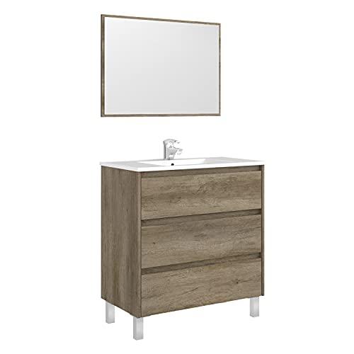 ARKITMOBEL Mueble de Baño con 3 Cajones y Espejo, Modulo Lavabo, Modelo Dakota, Acabado en Nordik, Medidas: 80 cm (Ancho) x 86 cm (Alto) x 45 cm (Fondo)
