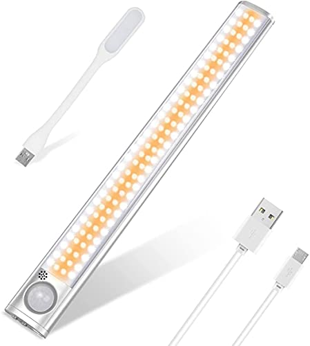 Luz Armario 160 LED Luz Nocturna con Sensor de Movimiento, Luz LED USB Recargable con 4 Modos, Lámpara Nocturna Ideal para Armario, Pasillo, Escalerav, Cocina, Garaje