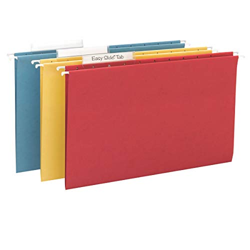 Smead TUFF Hanging File Folder with Easy Slide Tab, 1/3-Cut Sliding Tab, Legal Size, Assorted Primary Colors, 15 per Box (64140, Rod Color May Vary)