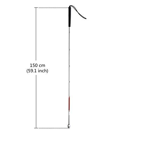 N\A Bastones Bastón Blanco de Aluminio con Mango Negro 125cm for el Ciego, 130cm, 135cm, 140cm, 145cm, 150cm, 155cm, se pliega 7 Secciones Bastones de Trekking (Color : 150cm (59.1 Inch))
