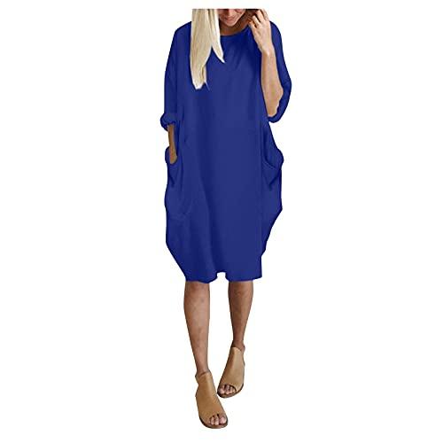 L9WEI Vestido informal para mujer, informal, manga larga, elegante, longitud media, cuello redondo, primavera y otoño, con bolsillos., Mujer, azul, small