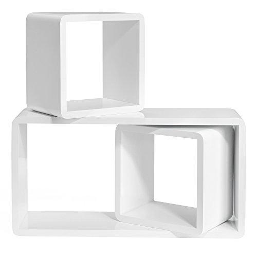 SONGMICS Juego de 3 Estantes Flotantes, Estantes de Pared, Cubos de Madera, Organizadores de Almacenaje, 15 cm Profundidad, 50, 22, 22 cm, Blanco LWS50WT