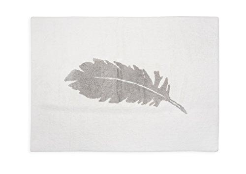 Aratextile. Tapis pour enfant 100 % coton lavable en machine Collection Pluma Blanc_Gris 120 x 160 cm