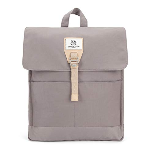 SEVENTEEN LONDON – Modern Lilac 'Ilford' Fold Top Bookbag Backpack in a Slim Design – Fits Laptops up to 13'
