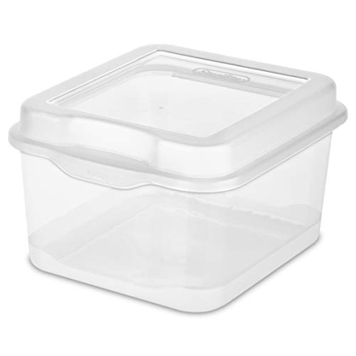 Sterilite Clear Plastic Flip Top Latching Storage Box Container