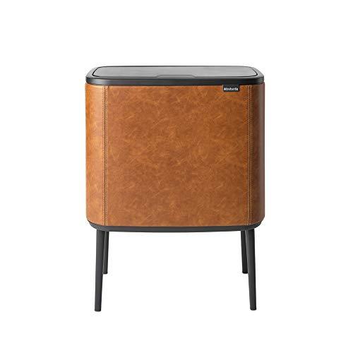 Brabantia - Cubo de basura Bo Touch Bin, 11 + 23 l Coognac Vegan Leather Celebrate 100 años.