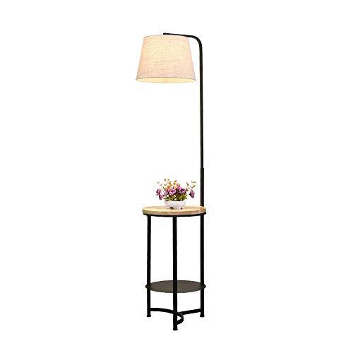 FWZJ Lámpara de pie con estantería, lámpara de pie de metal, lámpara de mesa negra de lectura con pantalla de lámpara de techo, lámpara de suelo moderna para salón dormitorio