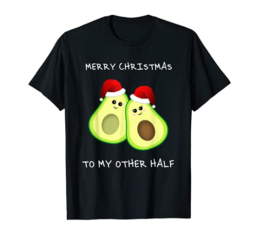Merry Christmas To My Other Half かわいいアボカド-カップルギフト Tシャツ