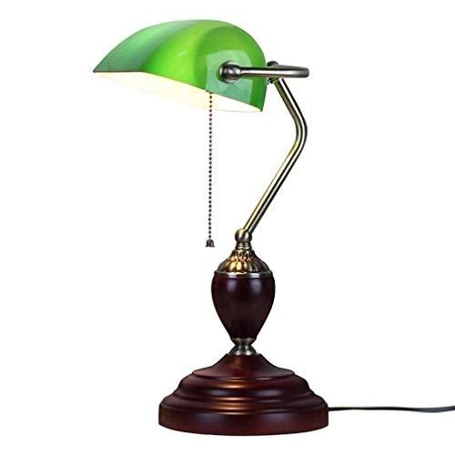 Luz de techo Clásico Vintage Retro Chasis de madera Interruptor de tirón Leer Lámpara de cristal verde Shade Studio y Lámpara de escritorio de oficina Lámpara de noche Dormitorio Dormitorio Lámpara-13