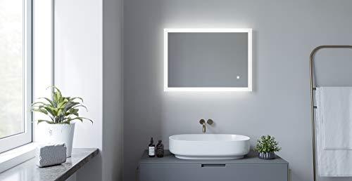 AQUABATOS® 70x50 50x70 cm LED Badspiegel mit Beleuchtung Lichtspiegel Antifog Badezimmerspiegel Beheizt Touch Dimmbar Kaltweiß 6400K Beschlagfrei Antibeschlag IP44 CE
