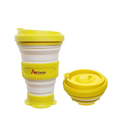 Aeroway Collapsible Silicone Travel Cup -The Genuine Foldable 21oz Drinking Cup with Lid,BPA Free,Water,Coffee,Tea for Indoor and Outdoor Camping or Hiking,Picnic
