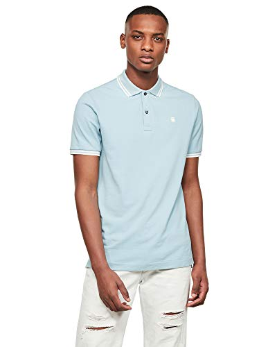 G-STAR RAW Mens Dunda Slim Stripe Polo Shirt, deep Sky 5864-A491, X-Large