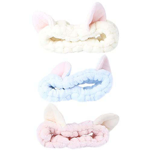 Lurrose 3-delige make-up hoofdbanden, schattige kattenoren, zachte dameshoofdbanden voor cosmetica, gezichtsdouche, spa, yoga, sport (blauw, wit, roze)