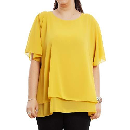 Toocool - Blusa Donna Tunica Chiffon Elegante Leggera Casacca Camicia Curvy AS-238 [Taglia Unica,Senape]