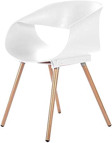 BAIF Faules Sofa, Stuhl Eierrolle Stuhl, Massivholz Kunststoff Kaffeestuhl Esszimmerstuhl (Farbe  Weiß)