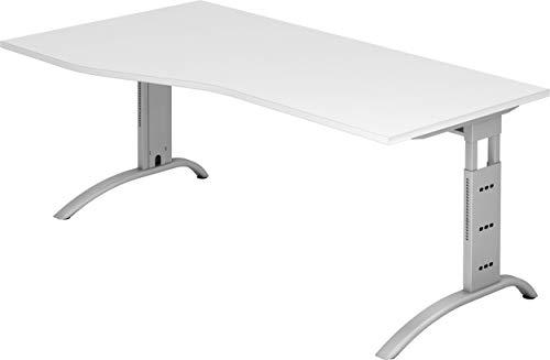 bümö® Schreibtisch höhenverstellbar | Büroschreibtisch Profiqualität | Bürotisch in 6 Dekoren & 9 Längen verfügbar (Weiß, Freiform: 180x100 cm)