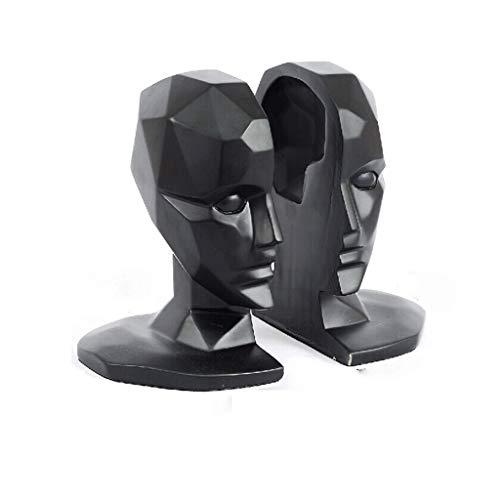 CKH Soporte Cabeza Humana sujetalibros Decoración Libro Negro Modelo de habitación Suave Instalación Moderna del hogar nórdicos Accesorios de la Sala de Estudio documental Libro Creativo
