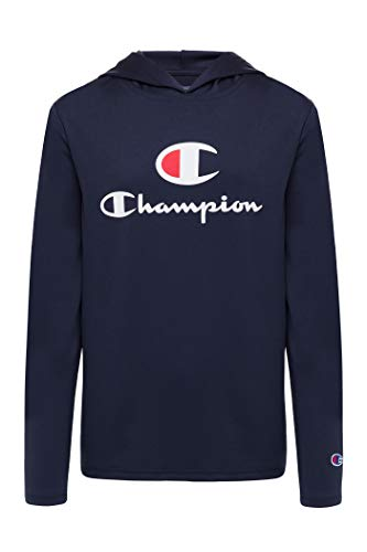 Champion Boys Tech Long Sleeve Top Active Hooded Tee Shirt for Kids Clothes (Large, Navy)