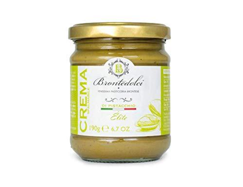 Brontedolci Crema Spalmabile di Pistacchio Elite Spreadable Pistacho Crema 190g en Vidrio de Sicilia con 40.5% Pistacho