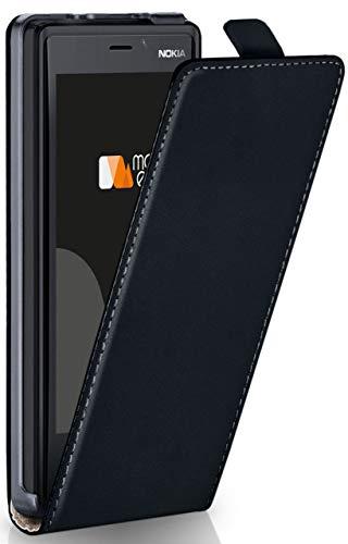 moex Flip Case für Nokia Lumia 930 - Hülle klappbar, 360 Grad Klapphülle aus Vegan Leder, Handytasche mit vertikaler Klappe, magnetisch - Schwarz