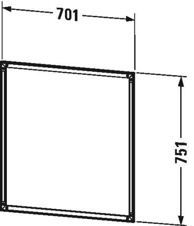 Duravit L-Cube Einbaurahmen für Spiegelschrank, 700x10 mm, mit integrierter Touch LED - LC968500000